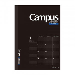 KOKUYO 2021 Campus Diary A5 Monthly-Grid Black