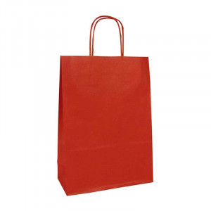 CF Kraft Bags White 18x7x24cm 25s Red